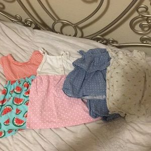 Lot of 4 baby romper/dress 💕 like new, no stains